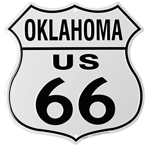 Flagline Route 66 (Oklahoma) - 11.5 in x 11.5 in Aluminum Highway Shield