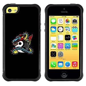 iKiki Tech / Estuche rígido - Dragon Tattoo Graffiti Black Yin Yang - Apple iPhone 5C