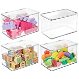 mDesign Kids Small Plastic Stacking Toy Storage Organizer Box Container with Hinged Lid for Storing Action Figures, Crayons, Building Blocks, Puzzles, Wood Construction Sets, Cars, 4 Pack - Clear