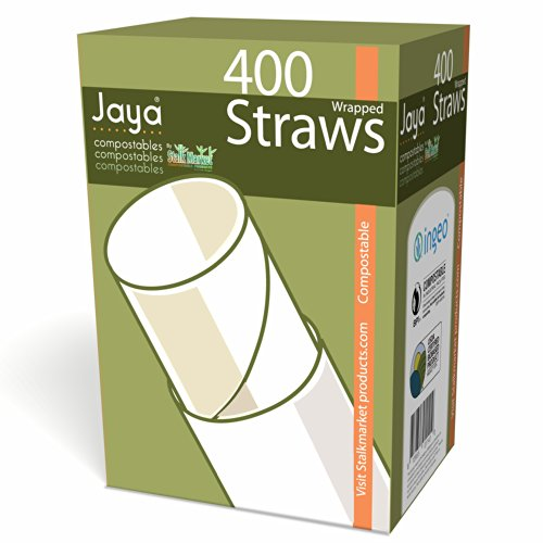 Jaya 100% Compostable Pla Straws Individually Wrapped, 4800 Count by Stalkmarket