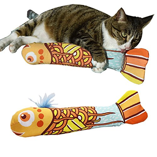 Coolfm Catnip Toys Simulation Fish Shape Doll Interactive Pets Pillow Chew Bite Supplies for Cat/Kitty/Kitten Fish Flop Cat Toy Catnip Crinkle Toys 14.9in (BN-YELLOW)