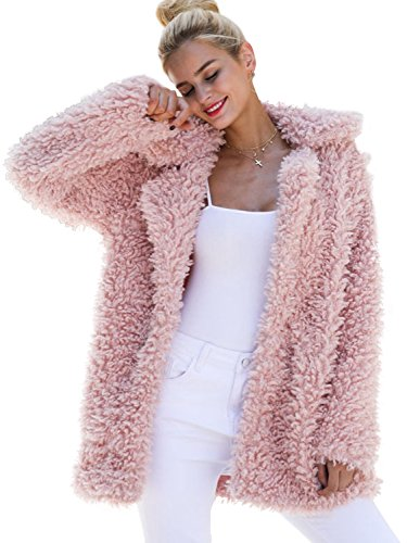 (BerryGo Women's Shaggy Long Faux Fur Coat Jacket Outwear Pink,XXL)