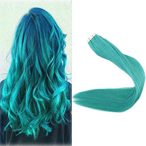 """Beauty : Full Shine 18"""" 25Gram 10 Pcs Per Package Gule Hair Teal Hair Highlight Hair Pu Tape Skin Weft Human Hair Extensions"""