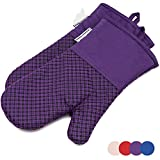LA Sweet Home Silicone Oven Mitts Plaid Heat Resistant Cooking Gloves Non-Slip Grip Pot Holders for Kitchen Oven, BBQ Grill and Fire Pits Ideal for Cooking, Baking 7x13 inch 1 Pair (Purple) by