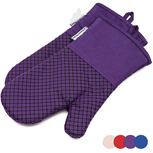 LA Sweet Home Silicone Oven Mitts Plaid Heat Resistant Cooking Gloves Non-Slip Grip Pot Holders for Kitchen Oven, BBQ Grill and Fire Pits Ideal for Cooking, Baking 7x13 inch 1 Pair (Purple) by by LA Sweet Home