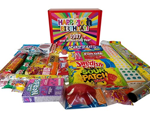 30th Birthday Candy Gift Box | Full of Candy from the 1980s | Fun, Classic, Nostalgic candy from your childhood (80s Birthday Ideas)