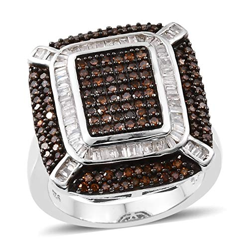 - Baguette Red Diamond Statement Ring 925 Sterling Silver Platinum Plated Jewelry for Women Size 6 Cttw 3