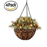 4 Pack Metal Hanging Planter Basket incl Liner (Small Image)