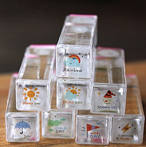 WellieSTR 8PCS SET Mini Rubber Stamps Weather Snow Sunshine Cute Novelty Crafts Scrapbook 1*1cm