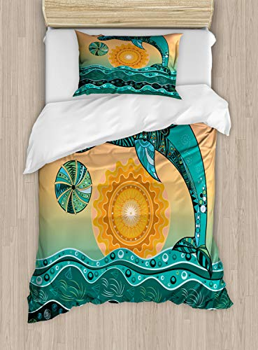 Lunarable Turquoise Duvet Cover Set Twin Size, Ethnic Floral Paisley Motifs Dolphin in Sea Sunset Oceanic, Decorative 2 Piece Bedding Set with 1 Pillow Sham, Dark Seafoam Marigold and Peach