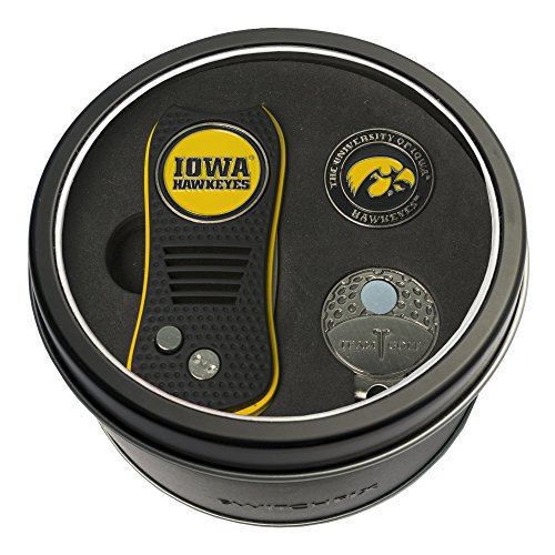 Team Golf NCAA Iowa Hawkeyes Gift Set Switchblade Divot Tool, Cap Clip, & 2 Double-Sided Enamel Ball Markers, Patented Design, Less Damage to Greens, Switchblade Mechanism ()