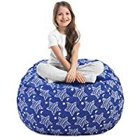 Magicfly Stuffed Storage Bean Bag, Large Cotton Canvas Beanbag Chairs for Kids, Plush Toys Holder and Organizer for Girls