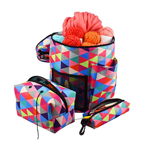 (Large Capacity/Portable/Lightweight Yarn Storage Knitting Tote Organizer Bag with Shoulder Strap Handles Looen W/Pockets for Crochet Hooks & Knitting Needles ... (Rainbow Color Set 1))