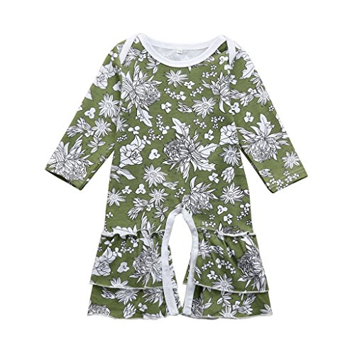 FEITONG Infant Baby Toddler Girls Long Sleeve Floral Print Ruffle Romper Jumpsuit Outfits Clothes