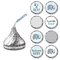 Baby Boy Elephant Labels for HERSHEY'S KISSES® chocolates - Baby Shower Candy Stickers - Set of 240