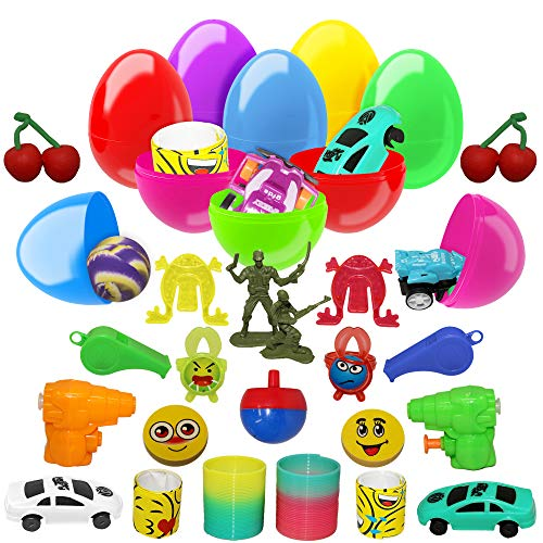 The Twiddlers Large 50 Toy Filled Plastic Easter Egg Set - Easy Snap Hinged 2.7 Inches Eggs Ideal for Easter Theme Parties, Basket Fillers Stuffers, Egg Hunting Party Favors, Class-room Prize     ]()