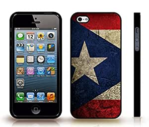 iStar Cases? iPhone 5/5S Case with Puerto Rico Flag Distressted Grunge Look Design , Snap-on Cover, Hard Carrying Case (Black)
