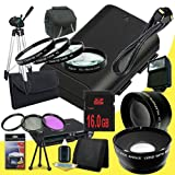 Canon EOS 70D DSLR Camera with 18-55mm STM f/3.5-5.6 Lens LP-E6 Lithium Ion Replacement Battery + 16GB SDHC Class 10 Memory Card + 58mm 3 Piece Filter Kit + Full Size Tripod + 58mm Macro Close Up Kit + 58mm 2x Telephoto Lens + 58mm Wide Angle Lens + Carry
