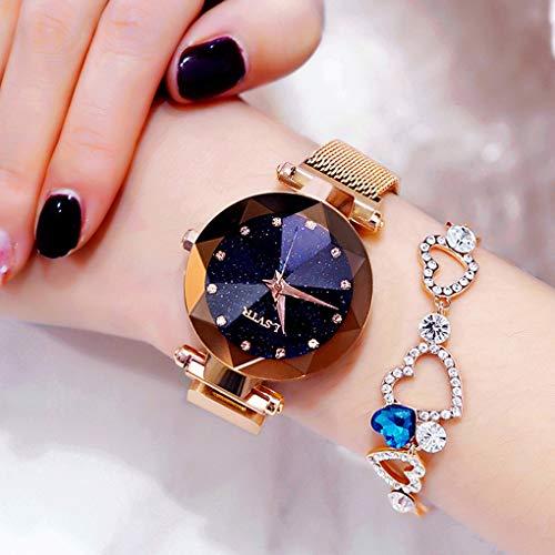 Womens Watch Luxury Fashion Watches Starry Sky Watch Wrist Watch Creative Lazy Watch Birthday Gift Watch Band Star Powder Wrist Watches,B