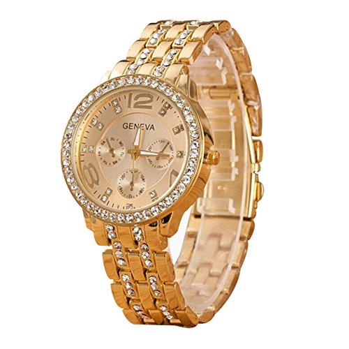 TOOGOO - Reloj de cuarzo digital con correa de piel sintética, diseño de torre femenina, color oro rosa: Amazon.es: Relojes