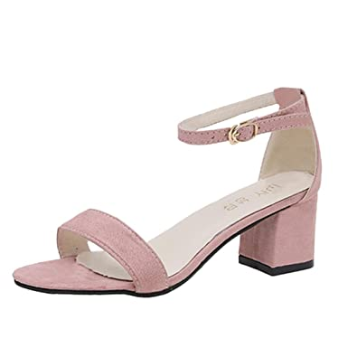 ac4977a6229 Ladies Sandals Jamicy Block Heel Sandals Summer Ankle Strap Mid Heel Open  Toe Party Casual Shoes