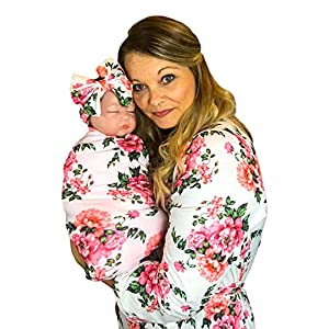 Best Mommy Robe with Matching Baby Swaddle Blanket and Bow