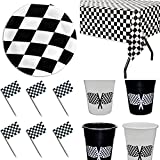 Racing Party tableware - 12 plates - 12 plastic cups - Checkered Table Cover - 50 Picks