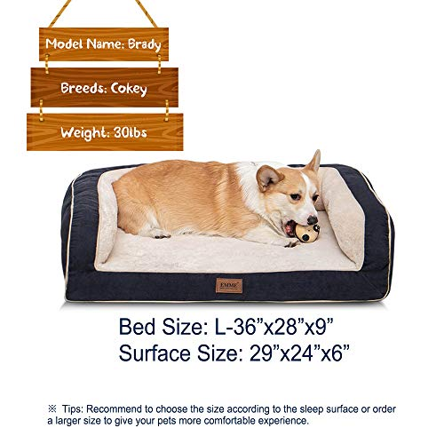EMME Orthopedic Dog Beds 27/36/44/50 inches for Small, Medium and Large Dogs & Cats Removable Cover Dog Sofa Bed Ultra Plush Deluxe Dog Couch Pet Bed (Navy, Large)