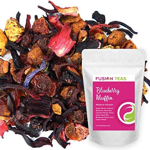 Blueberry Muffin Hibiscus Herbal Fruit Tea - Caffeine Free Loose Leaf Bulk Herbs and Flowers - 5 Oz Pouch