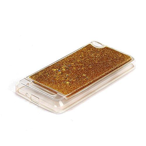 Funda Xiaomi Redmi 4A, Caselover 3D Bling Silicona TPU Arena Movediza Lentejuelas Carcasa para Redmi 4A Glitter Líquido Brillar Cristal Sparkle Protección Caso Suave Transparente Claro Bumper Case Cov Oro