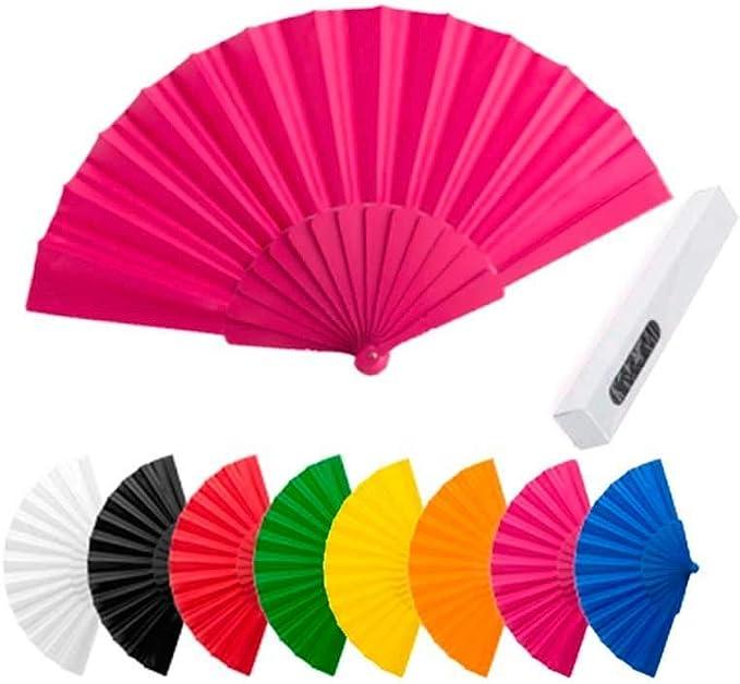 Lote de 50 Abanicos de Plástico y Tela de Colores Variados. Abanicos para bodas, bautizos y comuniones.: Amazon.es: Hogar