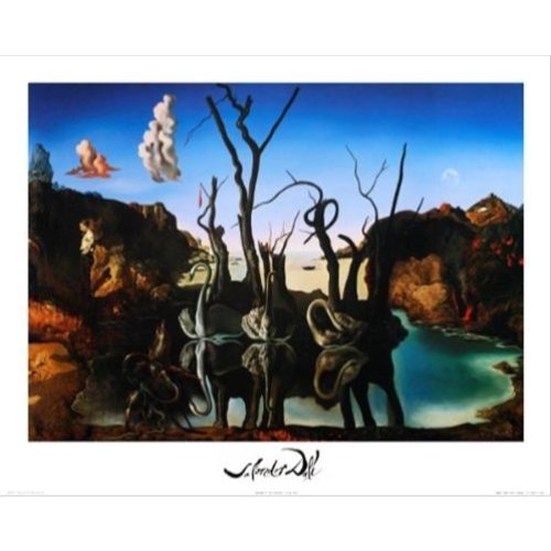 - Buyartforless Swans Reflecting Elephants by Salvador Dali 20x16 Art Print Poster Famous Painting Surrealism