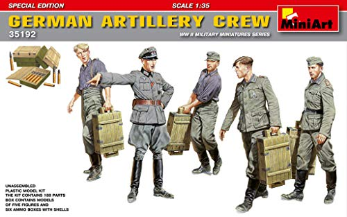 (MiniArt 35192 German Artillery Crew - Special Edition, WWII Military Miniatures 1/35 Scale Model Kit)