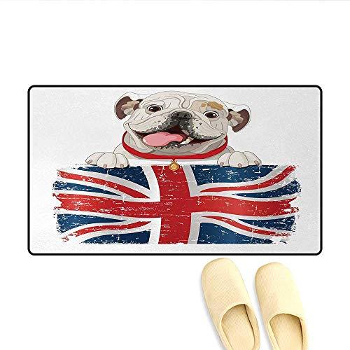 Door-mat,Happy Pet Bulldog Holding a Union Jack Flag of The Great Britain,Door Mats for Inside Bathroom Mat Non Slip,Cream Navy Blue Red,Size:32