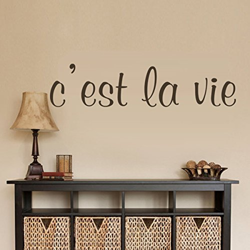 Wall Decal Decor French Vinyl French Saying161;C'est la vie161;175;-This is the life-Life quote Nursery Decor Home Living Room Decor Bedroom Decal Art Sticker (Large,Black) Bobbit