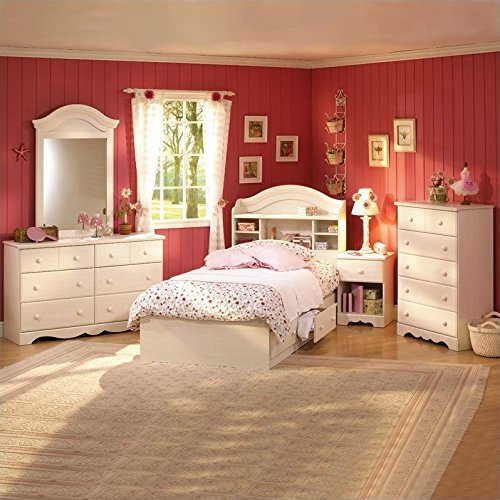 South Shore Summer Breeze Kids Twin Wood Bookcase Bed 3 P...