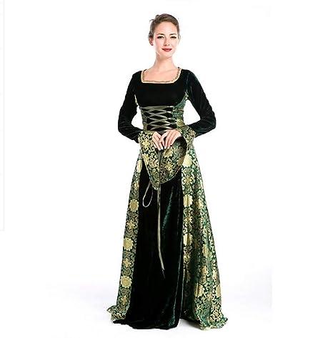 SHANGLY Mujeres Disfraz Medieval Vestido De Princesa De Corte Clásico Reina Verde Vestido De La Etapa,OneSize