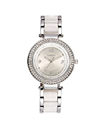 Time100 Fashion Women's Ceramic Watches Silver Bracelet Diamond Waterproof 30M Quartz Dress W50841L.01A
