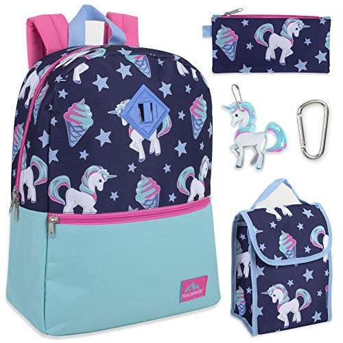 Trailmaker 5 in 1 Full Size Character School Backpack and Lunch Bag Set For Girls (Unicorn Ice Cream)