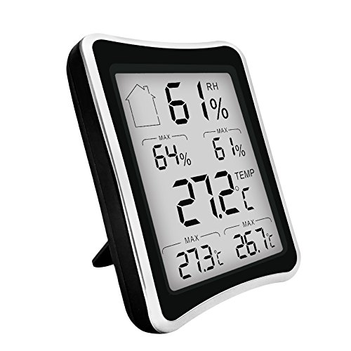 Clock + LCD Digital Hygrometer Humidity Thermometer Temperature Meter In/Outdoor - 9