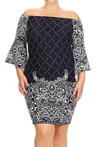Womens Plus Size Print,Short Dress With Off The Shoulder Sleeves MADE IN USA – 1X Plus, Navywhite Mixed Paisley Flora