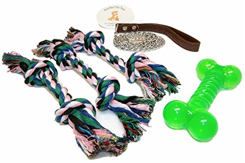 EMG Pet Emporium Chew Rope & Rubber Bone Toys PLUS Bundle Dogs | (3) Double Knotted Chewers | Guaranteed | Rubber Bone | 3.5ft Chain Leash | Interactive Play | ()
