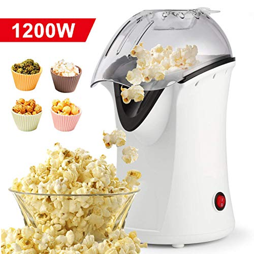 Homdox Hot Air Popper Popcorn Maker, 1200W Hot Air Popcorn Popper, Electric Popcorn Machine with Removable Lid for Home Use, No Oil Needed, Great for Kids (White/1200W) (Best Popcorn Machine For Home Use)