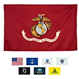 Front Line Flags US Marine Corps Flag, Heavy Duty & Double-Sided | Embroidered for Inside/Outside Use | UV Protected, Long Lasting Nylon | Brass Grommets for Easy Display | USMC Flag 3x5 ft | By