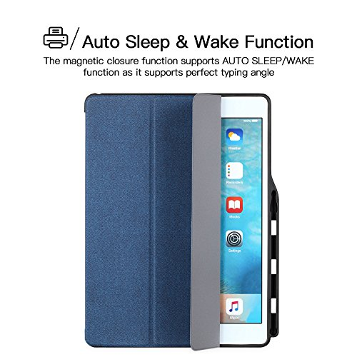 iPad Pro 12.9 Case, iVAPO [Brief Business Style] Premium PU Slim Fit Flip Folio Case with Apple Pencil Holder, [Stand Feature], Auto Sleep/Wake Smart Fabric Cover for iPad pro 12.9 inch-Blue (MM627) Photo #8