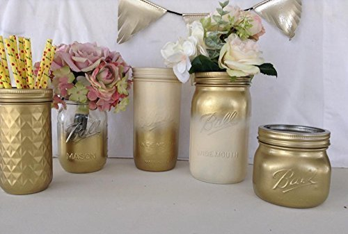 set of 5 rustic chic ivory and gold ombre mason jar centerpieces bridal baby