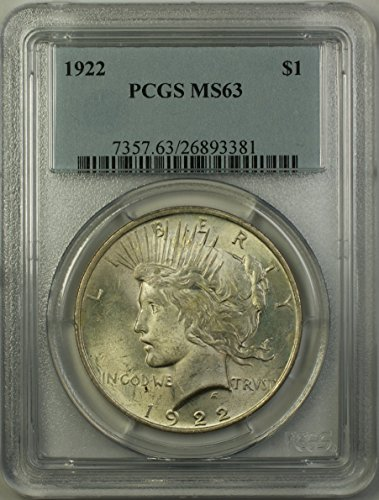 1922 Peace Silver Dollar Coin (ABR11-R) $1 MS-63 PCGS