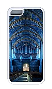 iPhone 5C Case, Personalized Custom Rubber TPU White Case for iphone 5C - Blue Church Cover