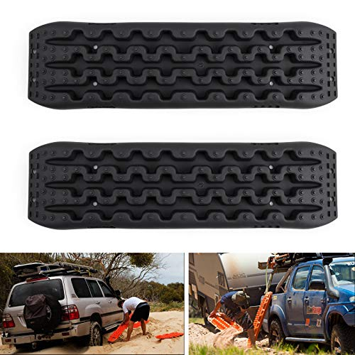 Areyourshop 2 PCS Recovery Traction Sand Tracks Snow Mud Track Tire Ladder 4WD Off Road Black