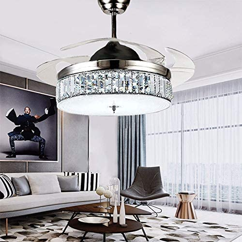 36 Silver Crystal Retractable Blade Ceiling Fan with Remote Modern LED Fan Chandelier Invisible Lighting Fandelier Bedroom Living Room Dinning Room Indoor 3-Color Changing